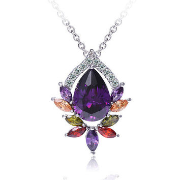 Stylish Jewelry Shiny New Arrival Gift Pendant Korean Water Droplets Necklace [4918332100]