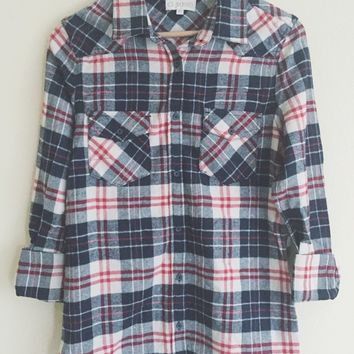 Fiona Red and Navy Flannel