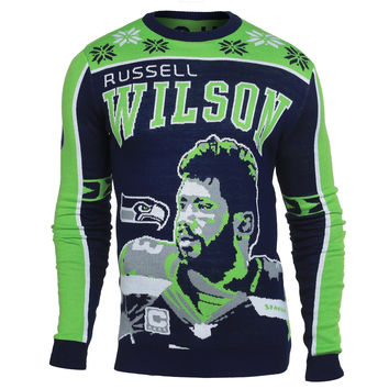 Seattle Seahawks 2015 Russell Wilson #3 Big Logo Ugly Sweater Sizes S-XXL w/ Priority Shipping