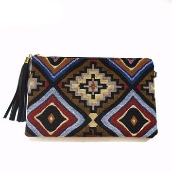 Tribal Print Bohemian Southwest Embroidered Purse