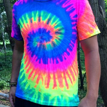 neon swirl tie dye shirt, psychedelic, black light glow, hippie