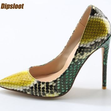 Multi Color Python Leather Pointed Toe Pumps Slip On High Heels dec3803696