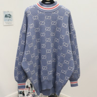 GUCCI 2018 autumn and winter models half-high collar double G letter long sleeve sweater Blue