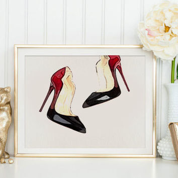 French Couture Print Fashion Illustration Modern Home Décor Christian Louboutin Shoes Artwork Watercolor artwork