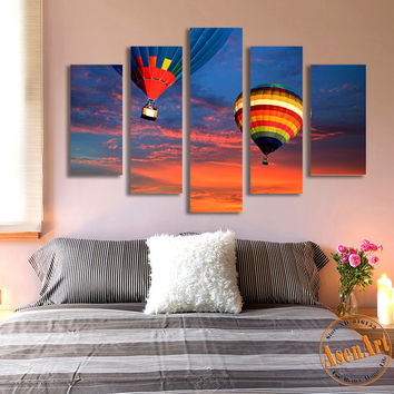 5 Panel Canvas Art Hot Air Balloon Painting for Living Room Wall Art Canvas Print Sunset Picture No Frame