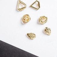 Triple Gold Stud Earring Set