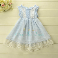 Blue Belle Swiss Dot Lace Hem Dress