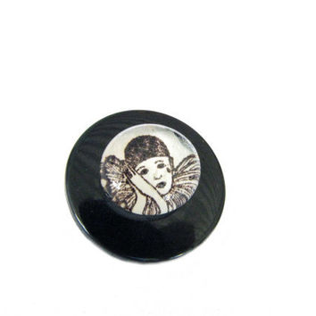 Glass Marble Clown Vintage Button Pin Water color Clown repurposed recycled upcycled