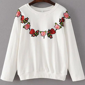 Floral Embroidered Drawstring Sweatshirt