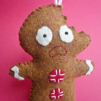 scared gingerbread man ornament, funny felt gingerbread ornament, Christmas tree ornament