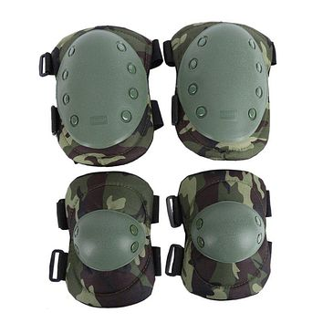 Tactical Military 2* Elbow Brace + 2* Knee Protective Pads Paintball Combat