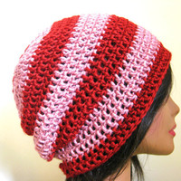 Valentines Day Slouchy Hat Read Pink Oversize Womens Hipster Beanie