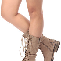 Taupe Faux Suede Spiked Lace Up Combat Boots