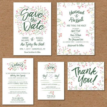 "Floral Wedding Invite Set: Printable Invitation 5x7"", Save the Date 5x7"", Info Card 4x6"", RSVP 3.5x5"", Thank You Postcard 4.25x5.5"""