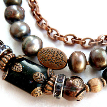 2016 collection Black Real Pearl bracelet  Gold sand 3 strands bracelet Copper metal details Hematite Czech glass beads Rhinestone beads