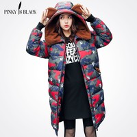 Pinky Is Black 2017 Long Parka Thick Female Winter Coat Women Camouflage Warm Winter Jacket Woman Hooded Coat And Jacket Outwear