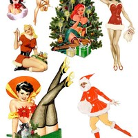 christmas sexy santa pinup girls die cuts clipart digital download printable collage sheet downloadable images diy crafts cards scrapbooking