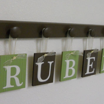 Green and Brown Personalized Baby Boy Shower Gift for RUBEN - 5 Wooden Hooks Custom Baby Nursery Wall Decor Kids and Children's Room Decor