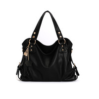 Elegant Black Tassel Handbag & Shoulder Bag
