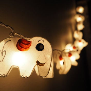 SALE Cute 2 acts Elephant Fairy String Light - 20 Elephant Lights Fairy lights Party Decor Wedding Garden Spa and Holiday Lighting