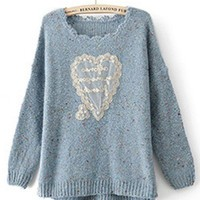Round Neck Blue long sleeve irregular pullover   style zz10080404 in