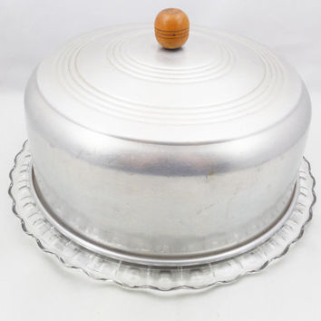 "Clear Glass Footed Cake Plate with Aluminum Cover, 11 1/2"" Plate"