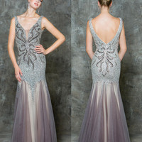 GLOW G697 Silver/Nude Beaded Mesh Mermaid Prom Evening Dress