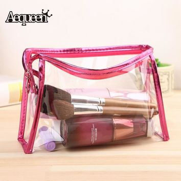 AEQUEEN Transparent Clear Cosmetic Bags Waterproof Solid Women Ladies Makeup Storage Bag Zipper Small Bag Wash Clear Travel Bags