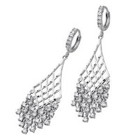 .925 Sterling Silver Rhodium Plated CZ Cubic Zirconia Elegant Design Dangle Hanging Fancy Fashion Hinged Earrings