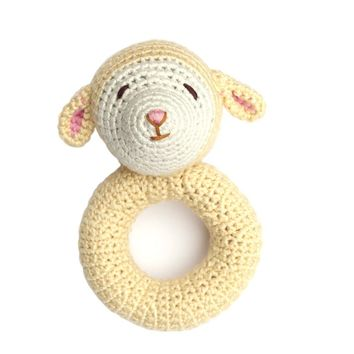 Lamb Crochet Ring Rattle