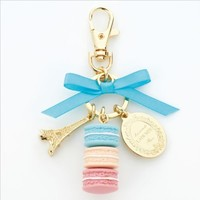 LADUREE Keychain Ring Eiffel Tower Macaron Charm S -BLUE
