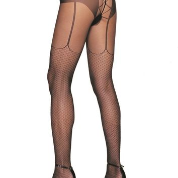 Leg Avenue Female Lycra Fishnet Garter Look Lace Up Back Panty Hose 7520
