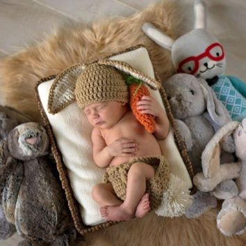 Baby Bunny Hat Diaper Cover Carrot Set