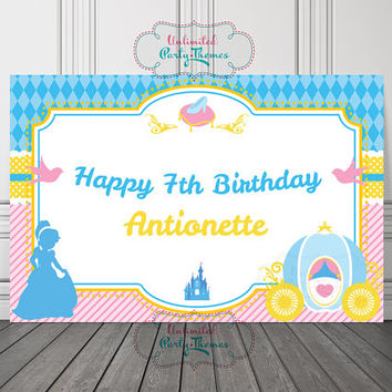 Cinderella Backdrop / Cinderella Birthday Vinyl Banner / Cinderella Birthday Backdrop
