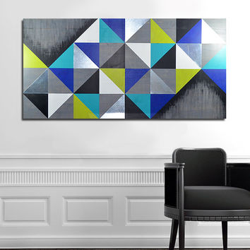 METAL WALL ART Modern Wall Art Wood Wall Art Wood Art Abstract Painting Metal Art 48x24, Mod Cubism Lg