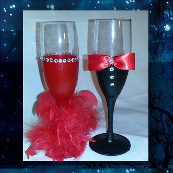 Bride and Groom red and black toasting glasses with paint, feathers and rhinestones * wedding champagne glass * custom toasting glass