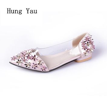 Women Flats Casual Shoes 2017 Summer Sandals Pointed Toe Fashion Shallow Rivet Flower Flat Shoes Woman Loafers Cool Comfortable