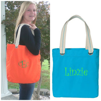 Personalized Canvas Tote Bag Custom Embroidery Monogram Gift Under 50 Dollars