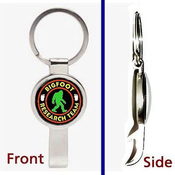 Yeti Bigfoot Research Team Pennant or Keychain silver tone secret bottle opener