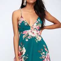 Lily Pond Teal Green Floral Print Swing Dress