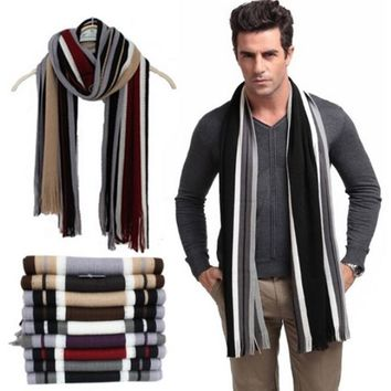 Designer Men's Striped Cotton Scarf