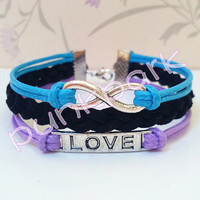 Love Symbol Bracelet,Infinity Bracelet.Blue and Purple Wax Cords and Black Braid bracelet.