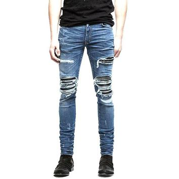 Men's Jeans Ripped Skinny Biker Jeans Destroyed Frayed Slim Fit Denim  Pencil Pants