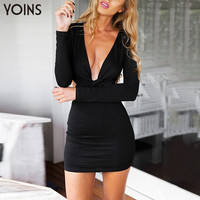 YOINS Sexy Women Plunge V-neck Long Sleeve Bodycon Dress Fashion Back Zip Bandage Party Dress with Cut Out Details
