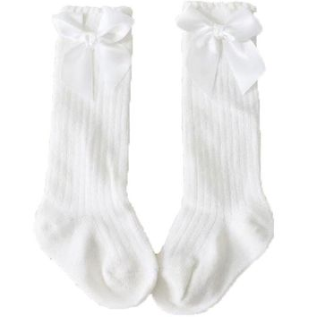 White Bow Long Socks