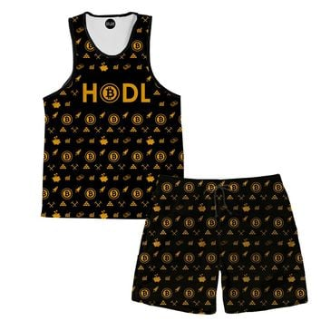 Bitcoin HODL Gold Tank And Shorts Rave Outfit