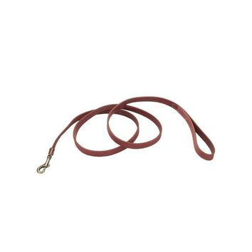 "Circle T Leather Dog Leash Antique Brass 3/4""x 6' Red"