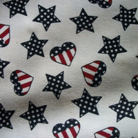 US Flags on Hearts and Stars Cotton Fabric