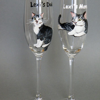Hand Painted Wedding Toasting Flutes Set Of 2 Personalized Champagne Glasses Wedding Theme My lovely cat
