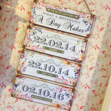 Important Dates, New Baby Gift, Grandparent Gift, Personalised Sign, What a difference a day makes, Rustic Decor, Children Birthdays